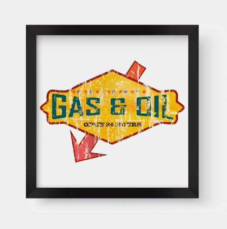 Quadro Decorativo Vintage Gas & Oil Station Open 24 Hours