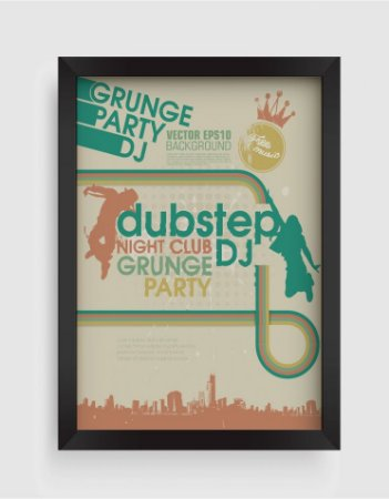 Quadro Decorativo Retro Vintage Grunge Party DJ Dubstep Night Club