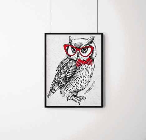 "Quadro Decorativo Animais- ""I see you"" Owl with tie and glasses."