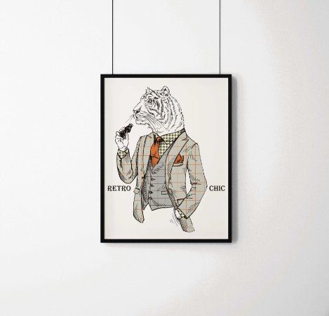 Quadro Decorativo Animais- Retro Chic Tiger