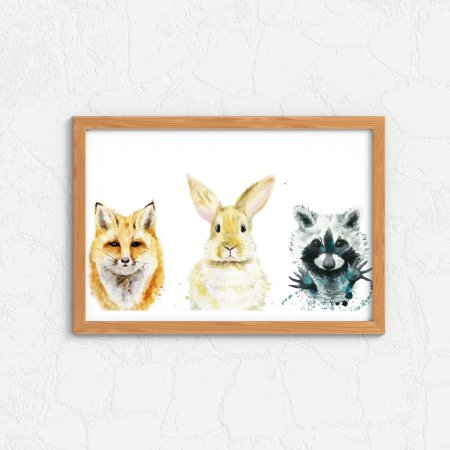 Quadro Decorativo Animais- Fox, Rabbit, Racoon.