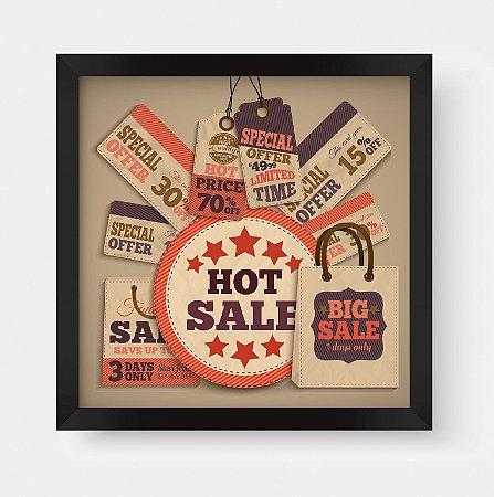 """Quadro Decorativo Vintage Sale Tags """"Hot Sale"""" """"Big Sale"""" """"Offer"""""""