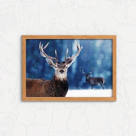 Quadro Decorativo Animais- Cervos na neve.