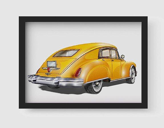 Quadro Decorativo Vintage Yellow Old Classic Car