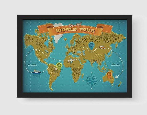 Quadro Decorativo Vintage Take a Trip World Tour Map