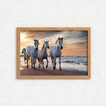 Quadro Decorativo Animais- Horses running on the beach.