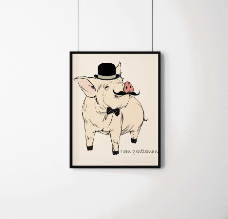"Quadro Decorativo Animais- ""I am Gentleman"" Elegant Pig."