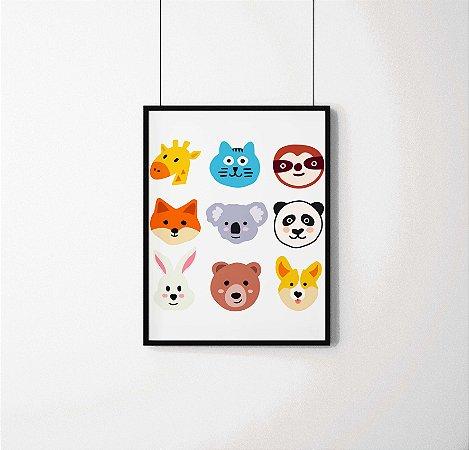Quadro Decorativo Animais- Funny Animals Illustration.
