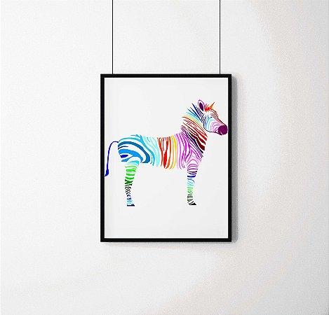 Quadro Decorativo Animais- Abstract colourful zebra.
