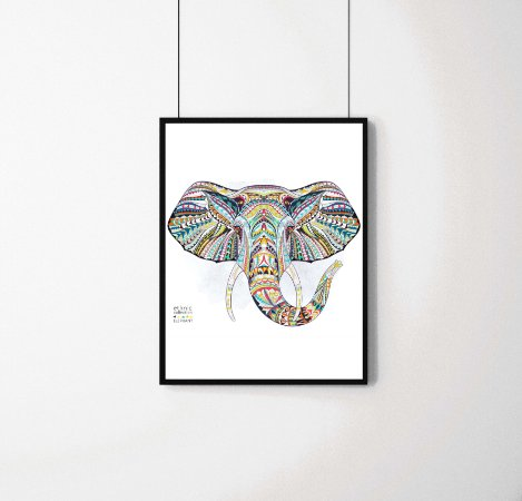 Quadro Decorativo Animais- Abstract Elephant.