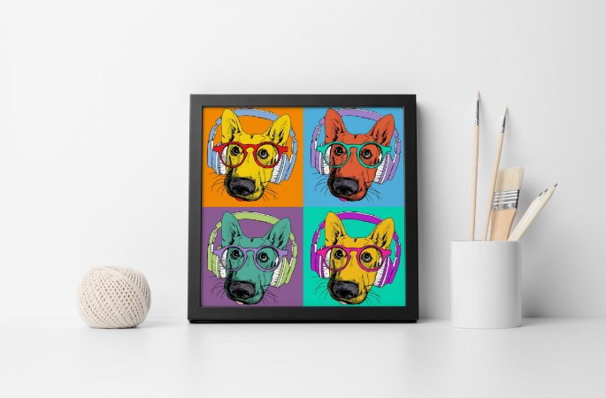 Quadro Decorativo Animais- Cool Dog with Headphones.