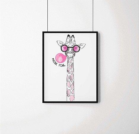 Quadro Decorativo Animais- Think Pink Cool Giraffe