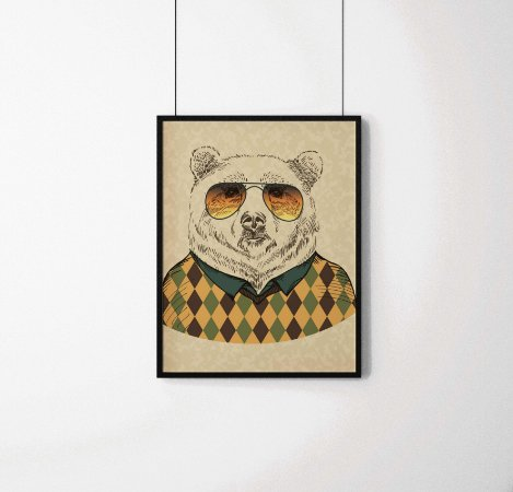 Quadro Decorativo Animais- Stylish Bear.
