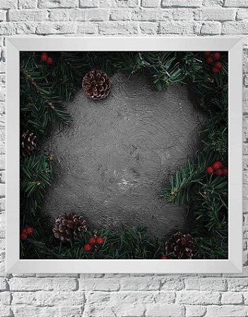 Quadro Decorativo Decoração de Natal Christmas Pine Leaves