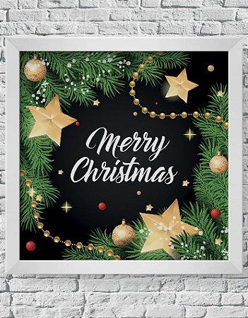 Quadro Decorativo Decoração de Natal Merry Christmas With Pine Leaves