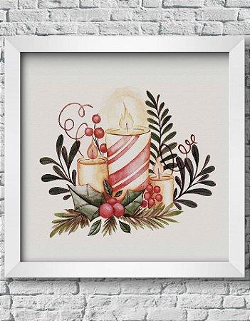 Quadro Decorativo Decoração de Natal Christmas Candles Decorations