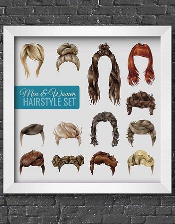Quadro Decorativo Para Barbearia Men & Woman Hairstyle Set