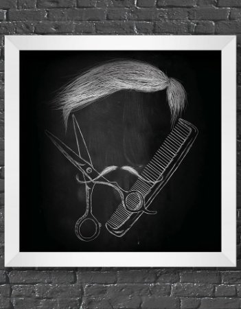 Quadro Decorativo Para Barbearia Chalk Moustache And Hair Cut