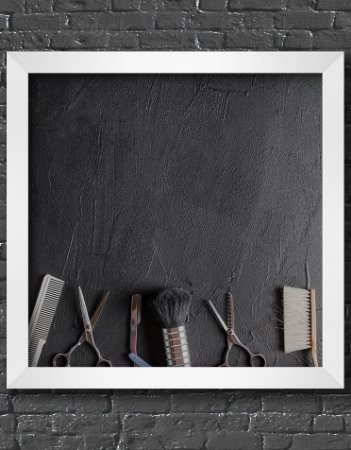 Quadro Decorativo Para Barbearia Various Barber Tools Black Background