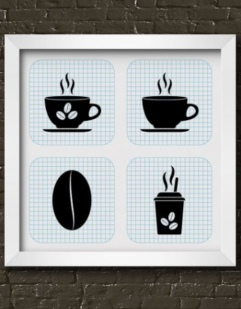 Quadro Decorativo Cup Of Coffee With Grid