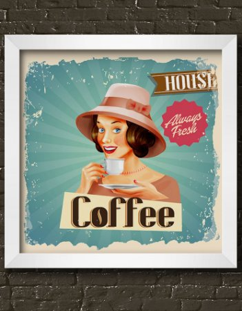 Quadro Decorativo Vintage Coffee Always Fresh