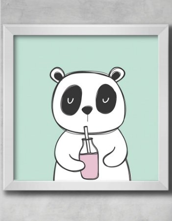 QUADRO DECORATIVO INFANTIL PANDA SUCO MENINO MENINA