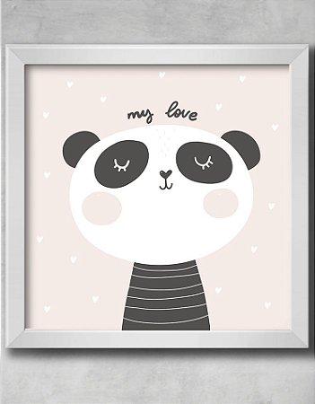 QUADRO DECORATIVO INFANTIL PANDA CORAÇÕES MY LOVE