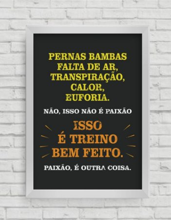 QUADRO DECORATIVO FRASES ISSO É TREINO BEM FEITO