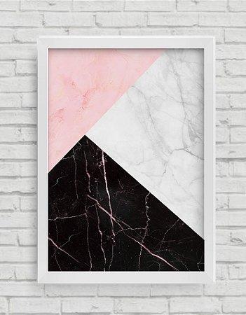 QUADRO DECORATIVO  WHITE, BALCK AND PINK STONE ART