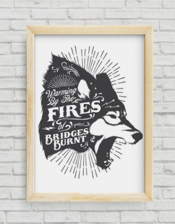 QUADRO DECORATIVO TYPOGRAPHY WOLF