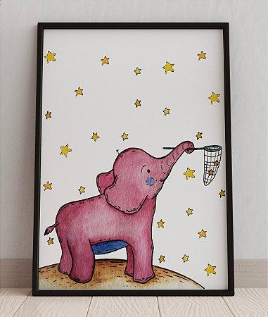 QUADRO DECORATIVO INFANTIL BABY PINK ELEPHANT