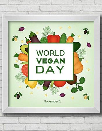 "QUADRO DECORATIVO ""World Vegan Day"" Dia mundial do Vegano"