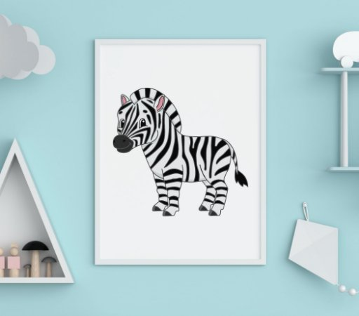 QUADRO DECORATIVO Infantil Cute Baby Zebra