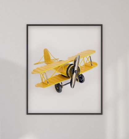 Quadro Decorativo Infantil/Juvenil Yellow Toy Airplane