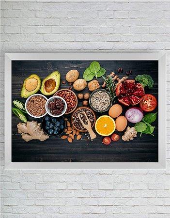 Quadro Decorativo Alimento Saudável na Mesa de Madeira