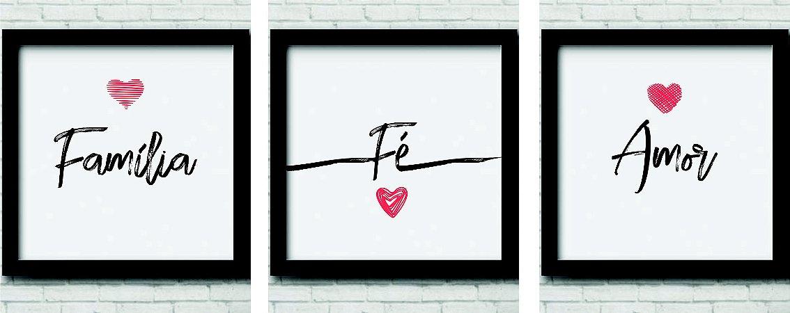 Kit 3 Quadros Decorativos Família, Fé, Amor branco