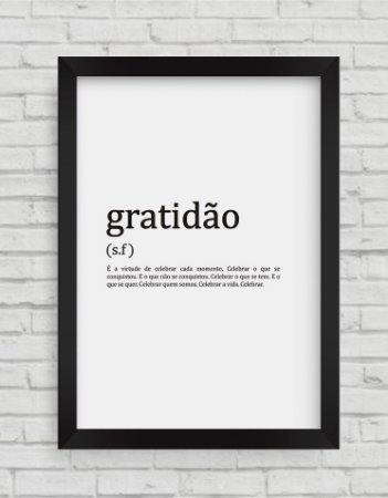 QUADRO DECORATIVO FRASES DEFINIÇÃO GRATIDÃO