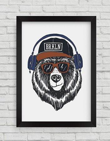 QUADRO DECORATIVO  COOL BEAR ILLUSTRATION