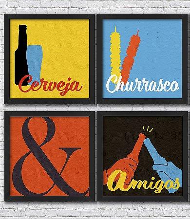 Kit 4 Quadros Decorativos Cerveja, Churrasco e Amigos