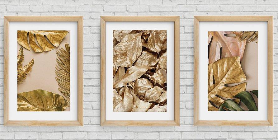 Kit 3 Quadros Decorativos Folhagens Douradas