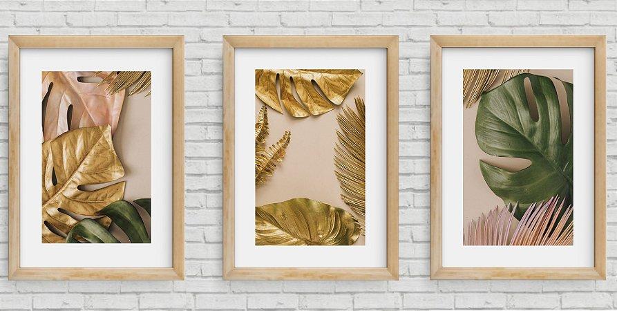 Kit 3 Quadros Decorativos Folhagens Douradas 2