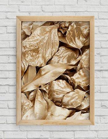 Quadro Decorativo Folhas Douradas