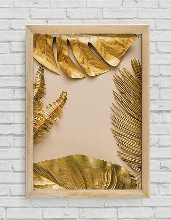 Quadro Decorativo Folhas Douradas 2