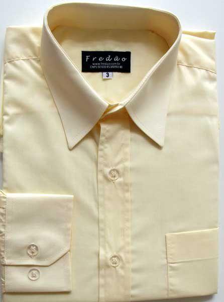 Camisa amarela, manga longa em tecido passa fácil, padrão exportação, cod 214