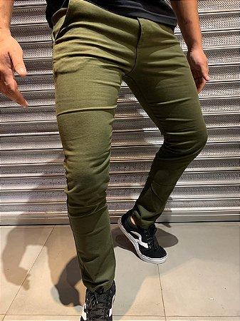 Calça Sarja Filho Rico Skinny Verde Militar