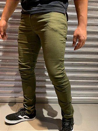 Calça Sarja Tradicional Filho Rico Skinny - Verde Militar