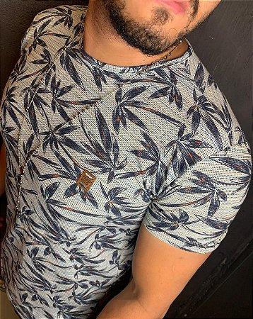 Camiseta Texture Filho Rico Floral - Verde Claro/Azul