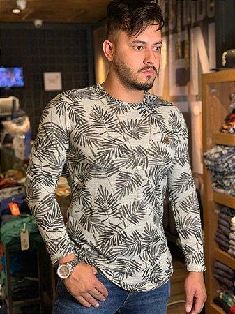 Camiseta Texture manga longa Filho Rico - Bege/Preto