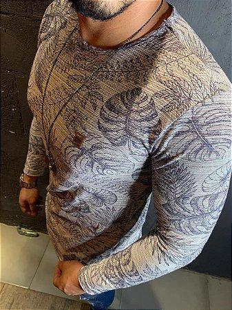 Camiseta Texture manga longa Filho Rico - Bege/Rosa