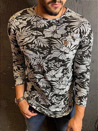 Camiseta Texture manga longa Filho Rico - Preto/Cinza